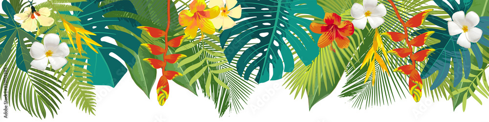 Fototapeta Tropical leaves and flowers border. Summer floral decoration. Horizontal summertime banner. Bright jungle background. Bright colors. Caribean beach party backdrop
