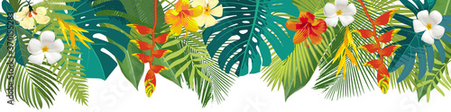 Fototapety, obrazy: Tropical leaves and flowers border. Summer floral decoration. Horizontal summertime banner. Bright jungle background. Bright colors. Caribean beach party backdrop