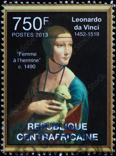 Fotografia Lady with an Ermine by Leonardo on african stamp