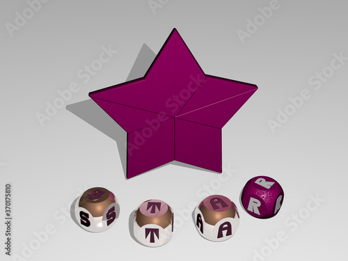 3D graphical image of star vertically along with text built around the icon by metallic cubic letters from the top perspective, excellent for the concept presentation and slideshows Canvas Print