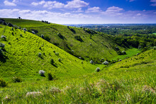 A Bright Sunny Spring Down On The Kent Downs Near Wye Looking Down The Valley At Devils Kneeding Trough South East England