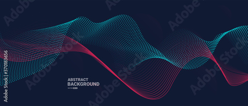 Obraz Abstract background with flowing particles. Dynamic waves. vector illustration.	  - fototapety do salonu