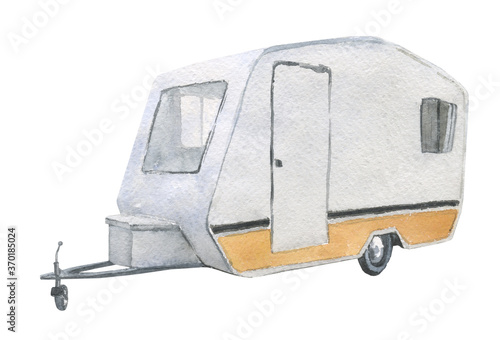 Watercolor image of a caravan trailer isolated on a white background Fototapete