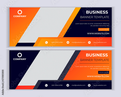 Corporate business social media cover, web banner template design Canvas Print