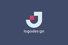 Abstract Initial Letter J Logo. White Geometric Shape With Red Square Dot Isolated On Blue Background. Usable For Business And Branding Logos. Flat Vector Logo Design Template Element