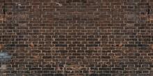 Loft Exposed Dirty Vintage Brick Wall. Brown Red Brickwork Texture Banner.