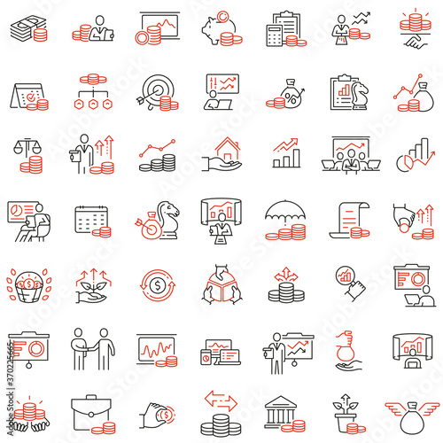 Canvas Print Vector set of linear icons related to finance management, trade service and investment strategy