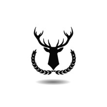 Deer Head In The Laurel Wreath Icon With Shadow