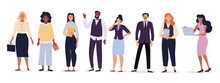 Business Team With Diverse Multiracial Businesspeople Standing In A Line Isolated On White, Colored Vector Illustration