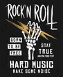 Rock festival poster. Rock and Roll sign. Slogan graphic for t shirt prints and other uses.
