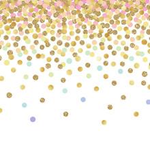 Falling Confetti Background - Colorful Confetti Falling On Solid White Background