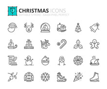 Simple Set Of Outline Icons About Christmas. Holidays Events.