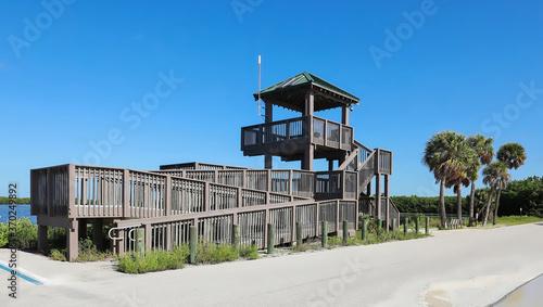 Fotografia Solar powered observation deck located on Sanibel Island, Florida, USA