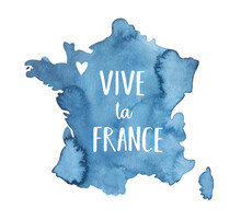 """Water Color Drawing Of Navy Blue Map Of France With Message: """"Vive La France"""". Hand Painted Watercolour Graphic On White, Isolated Element For Design, Greeting Card, Tee-shirt Print, Poster, Banner."""