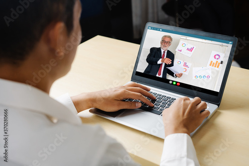 E-learning and Online Business Presentation Meeting Concept. Digital training course for people to do remote learning from anywhere.