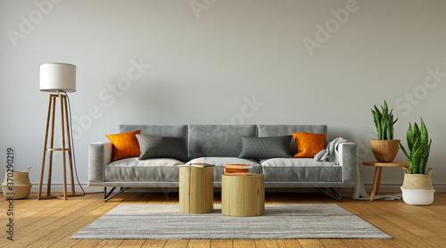 Gray sofa with orange pillows in simple living room interior, 3d rendering Fototapeta
