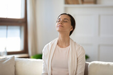 Mindful Young Woman Breathing ...