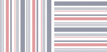 Textile Pattern In Blue, Red, White. Herringbone Textured Vertical And Horizontal Irregular Stripes Background Vector For Modern Fabric Print. Abstract Geometric Design.