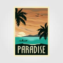Tropical Paradise Beach Vintage Poster Illustration Design, Vintage Travel Design