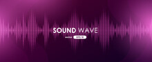 Sound Wave. Digital Music Equalizer. Beautiful Abstract Minimal Background. Simple Modern Style. Pink Neon Color. Pulse Line. Volume. Flat Style Vector Illustration.