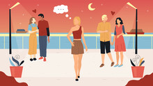 Love And Relationship Concept. Girls And Boys Enjoying Their Hot Summer Evening Walking Along The Seashore. Pensive Girl Walks Alone In The Moonshine Looking Around. Flat Style Vector Illustration