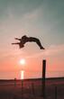 Back flip at sunset