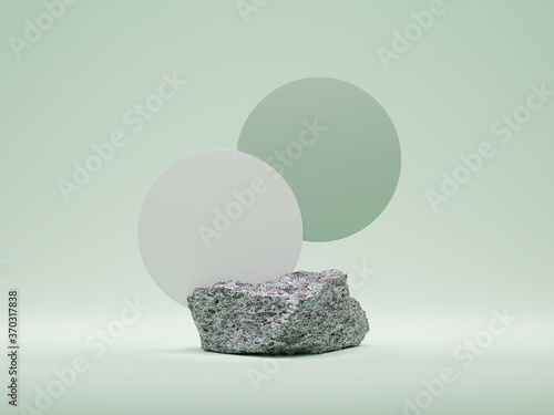 3D Stone, podium display on pastel green background copy space. Minimal granite trendy gray pedestal platform for product or cosmetics with round frame. Beauty 3D render abstract illustration mockup