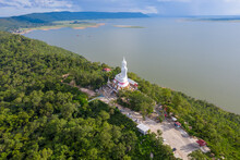 Aerial View Khon Kaen Province With Wat Phra Bat Phu Pan Kham In Thailand.