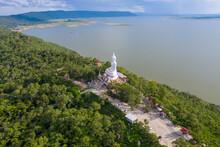 Aerial View Khon Kaen Province With Wat Phra Bat Phu Pan Kham In Thailand.
