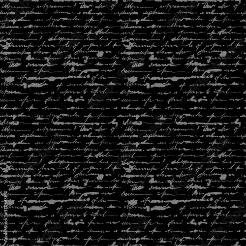 Tapeta czarna  seamless-pattern-of-gray-handwritten-scalligraphy-female-unreadable-letter-in-gray-ink-vector-illustration-on-a-black-background
