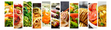 Various Tasty Food Close-up. Food Collage. Assortment And Menu. Free Space For Text.