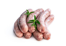 Pork Sausages Chipolatas Isolated On White Background