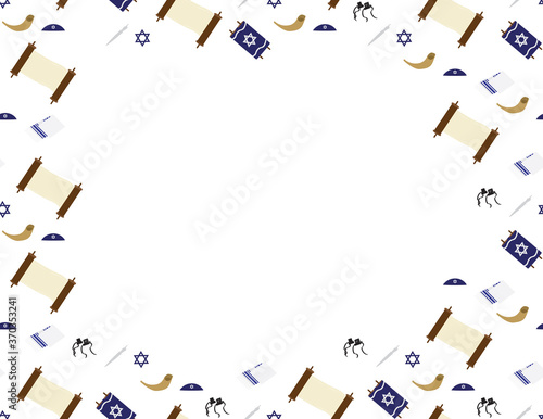 Valokuvatapetti Jewish elements seamless border - Torah scroll, Torah hand, Tallit, Star of Davi