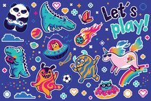 Let Is Play With Cosmic Guys, Dino And Unicorns Sticker Set. Vector Illustration
