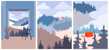 Set Of Abstract Minimalist Aesthetic Posters Backgrounds With Mountain Landscape, Camping, Forest. Trendy Vector Illustration For Wall Decoration, Postcard Or Brochure, Social Media. Zoom Effect.