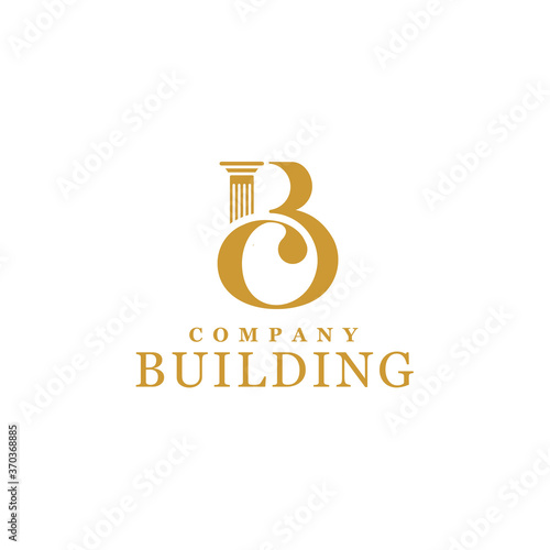 Initial Letter B C Monogram BC CB with Greek pillar column for architecture buil Canvas-taulu