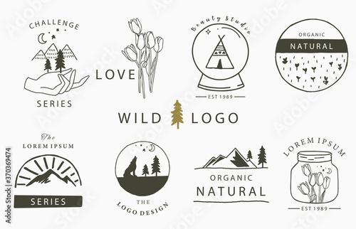 Carta da parati Cute home logo collection with flower,tulip,tent,moutain,fox