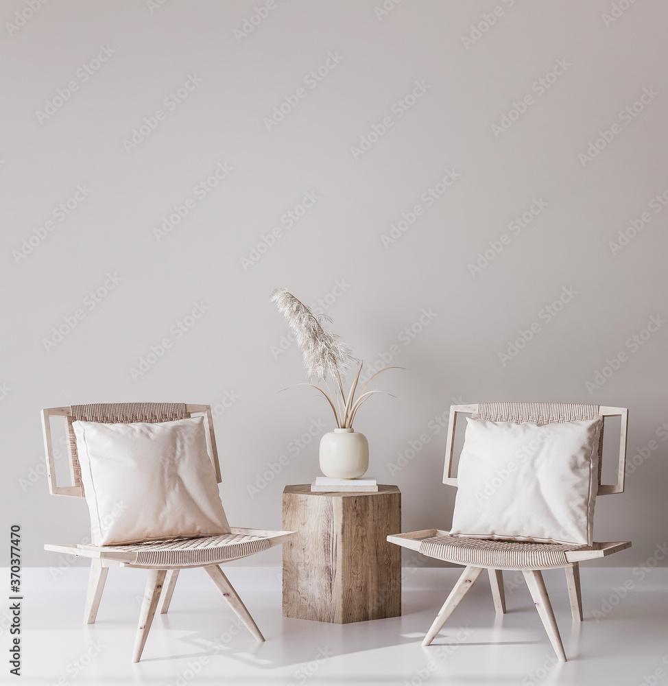 Fototapeta Mock up wall in modern interior background, living room, Scandinavian decoration, 3D render