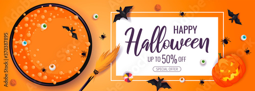 Canvastavla Happy Halloween promo sale flyer with Halloween elements