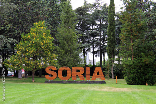 Letters of the city of Soria in the park of the Dehesa
