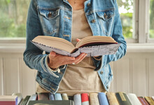 Woman Hands Holding Open Book ...