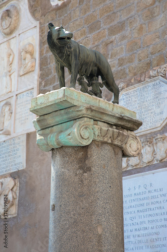 Vászonkép Statue of Romulus and Remus and the she wolf, Rome, Italy