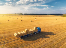 Aerial View Of Truck With Hay ...