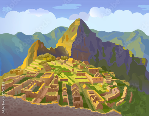 Fototapeta Machu Picchu in Peru. Historical landmark. City of the world countries vacation travel landmarks. South America. Vector illustration obraz