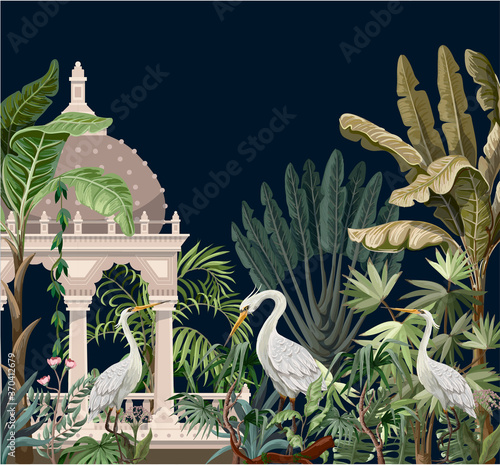 Obraz na plátne Border with ancient arbor and herons in the jungle. Vector.