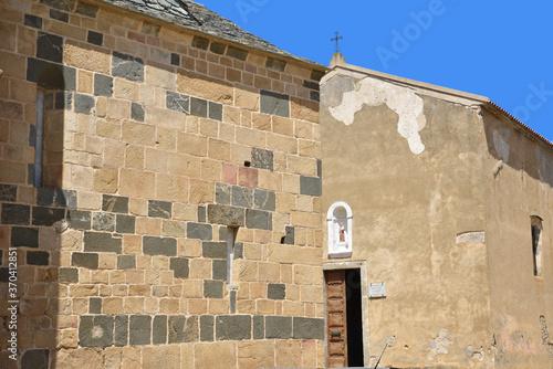 Canvas Print Confrérie Saint Antoine et église à Santa-Reparata-di-Balagna, Corse