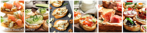 Obraz Collage of different tasty bruschettas. Banner design - fototapety do salonu
