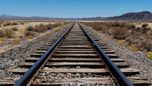 Desert Train Tracks At Trona Pinnacles
