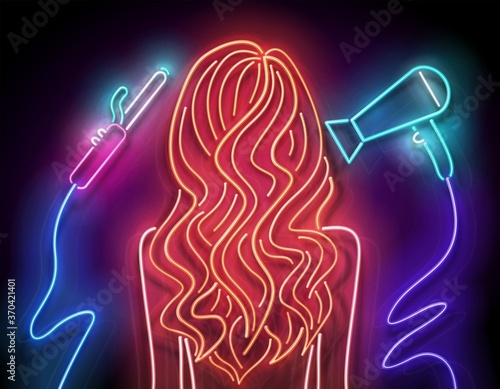 Photo Glow Beautiful Woman Silhouette with Wavy Red Hair