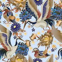 Seamless Pattern With Mandarin Ducks, Flowers And Cranes. Vector.
